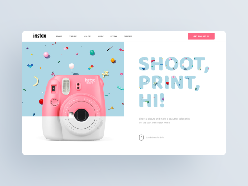 Fujifilm Instax Mini Promo Site illustration blog design prototyping landing landing page color promo promo site shot camera instant camera instax mini website logo information design minimal typography ui ux