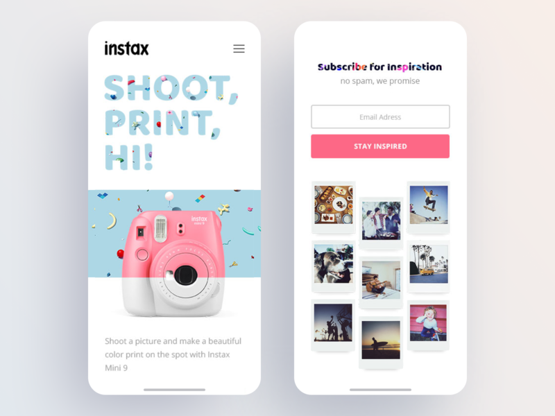 Instax Mini Adaptive Design animation web blog design logo mobile mobile app adaptive design gallery camera website minimal branding illustration app prototyping information typography ui ux design