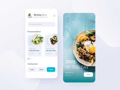 Recipes App prototyping app illustration logo blog design website ui information minimal ux design app design clean restaurant app food app meals lunch kitchen delivery app ui