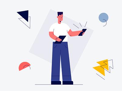 Office Worker illustrator flat web animation vector branding icon illustration ui shapes illustraion