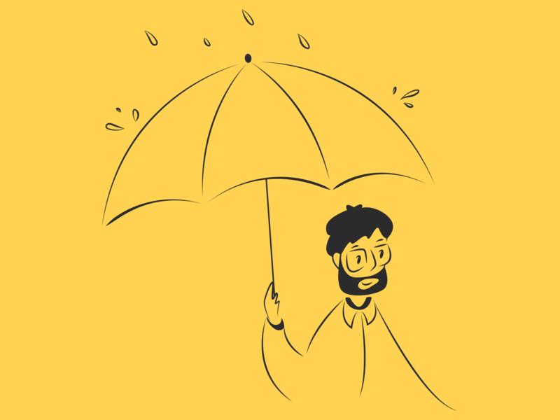 Clients' Safety Illustration illustrator animation flat logo icon design ui vector character man sun rain illustration