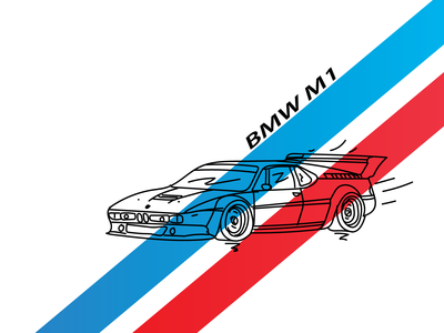 BMW M1 line art