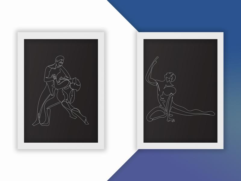 Line Work #2 outlines series woman man dancing dance dancers simple linework line drawing single line illustrator illustration design