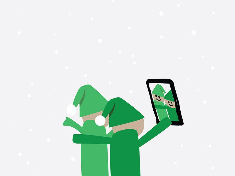 Elfie elfie selfie christmas card xmas december cartoon illustrator
