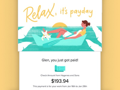 Relax, it's summer time email paycheck payday summer illustration