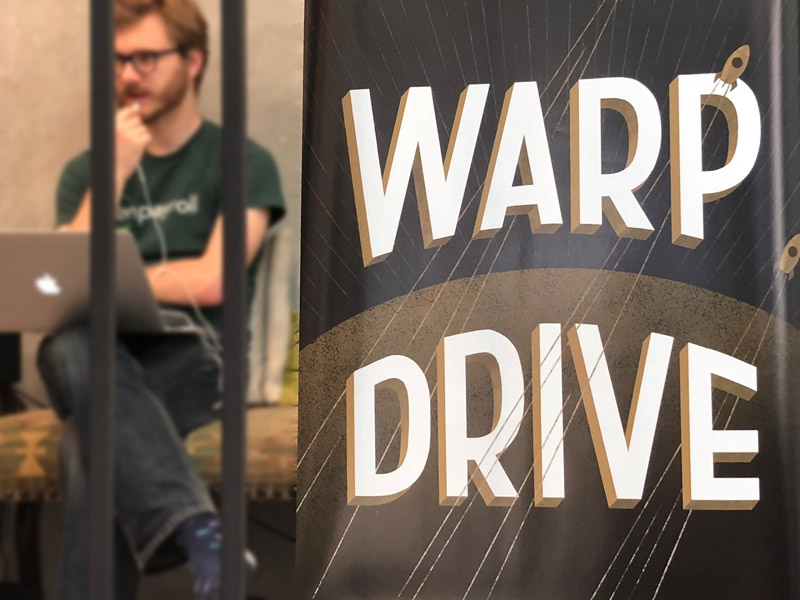 Warp Drive! Hackathon Poster space graphic typography gusto branding hackathon hand lattering poster