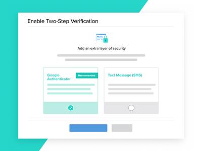 2FA Setup options selector radio button selection ui web two step verification two factor authentication 2fa