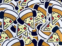 Pizza and Techno Stickers