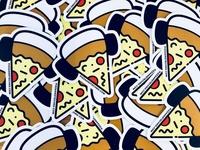 Pizza and Techno Stickers