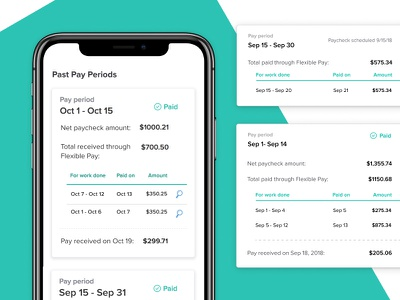 Flexible Pay History advance uidesign product payments responsive paycheck history mobile flexible pay gusto