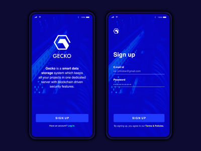 Concept sign up screen design - Dark Theme