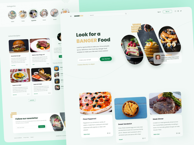 Bangerfood - Recipes Blog Concept blog food cooking landing concept desktop website page ux ui design