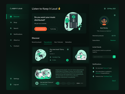 Keep It Loud - Podcast website music distribution podcast redesign homepage dashboard app desktop website ux ui page design
