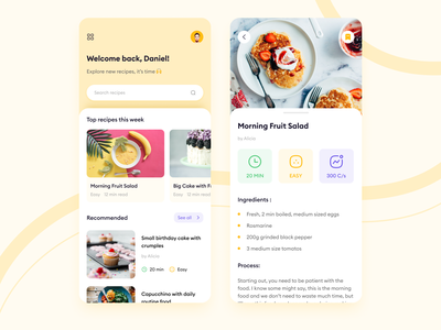 Food Recipes Blog - Mobile App mobile blog recipes cooking food app concept website ux ui page design