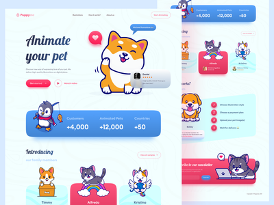 Puppyme - Animate your pet - Landing Page landing friendly animation pet puppy branding logo illustration concept desktop website page ux ui design