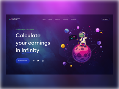 Infinity Token Landing Header Section finance infinity crypto token branding logo illustration desktop website page ux design ui
