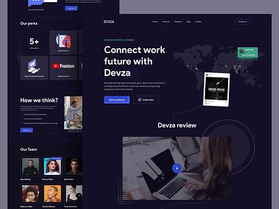 Devza Landing Page blue dark devza landing branding logo illustration desktop website page ux ui design