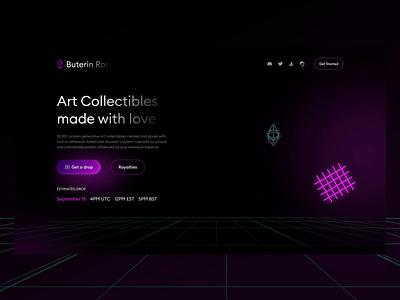 NFT Collectibles Landing Page - Buterin Rose cyberpunk modern collectibles buterin rose cryptocurrency nft branding logo desktop website page ux ui design