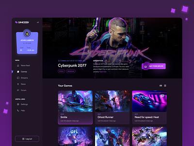 Gamebook - Gaming social platform redesign social gamebook blue purple modern futuristic neon cyberpunk branding concept desktop website page ux ui design platform gaming game redesign