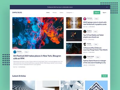Simple blog concept #2 green light modern blog simple branding concept desktop website page ux ui design