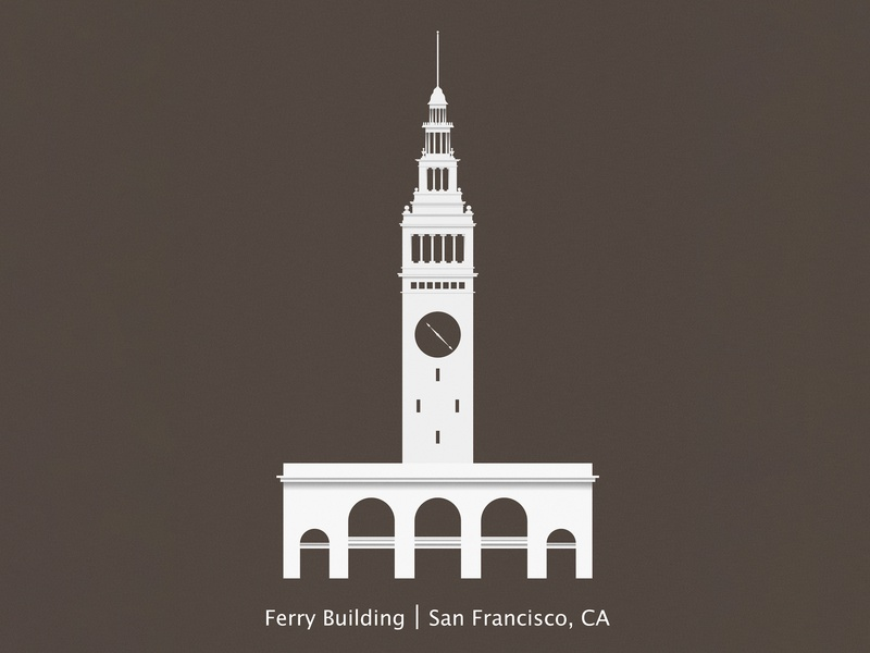 Ferry Building minimal affinity design flat vector illustration