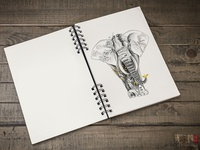 elephant illustration for tea packaging