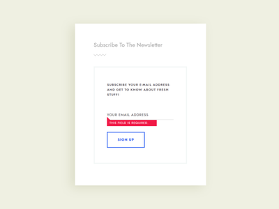 Subscribe widget with error state validate input forms ui design minimal error validation form newsletter subscribe