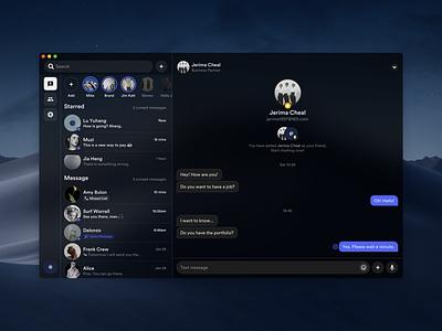 Social Concept Application (Desktop Version) messager contact message app message chat desktop app desktop design macbook mac platform ui application app behance sketch concept design