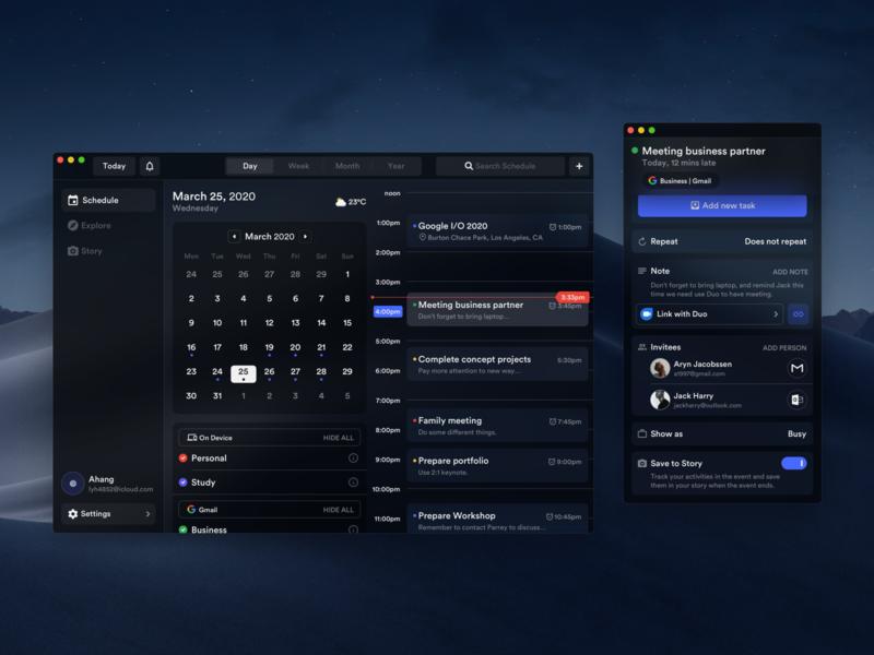 Calendar Concept Application 2 (Mac Version) calendar design calendar ui macos mac dark mode dark calendar layout platform ui application app behance sketch concept design