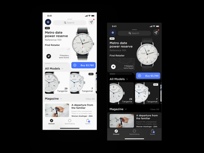 Redesign Watch Store shopping basket shop shopify shopping cart store nomos watching watches watch dark layout behance platform ui application app sketch concept design