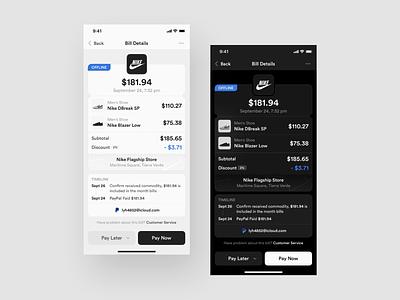 Redesign Bill Details paypal pay bank app banking bank payments billing bills payment bill dark layout platform behance ui application app sketch concept design
