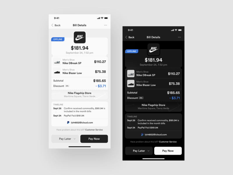 Redesign Bill Details paypal pay bank app banking bank payments billing bills payment bill dark layout platform behance ui application app sketch concept design