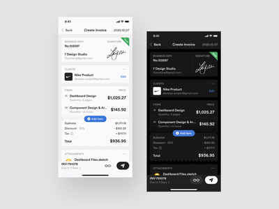 Create Invoice Concept invoice funding create signature card invoice template invoice design invoices invoice light dark layout platform ui application app sketch concept design