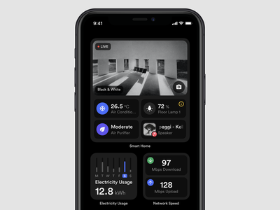 Smart Home Widgets electricity speed network smart home screen home smart home apple widget widgets smarthome dark layout platform ui application app sketch concept design