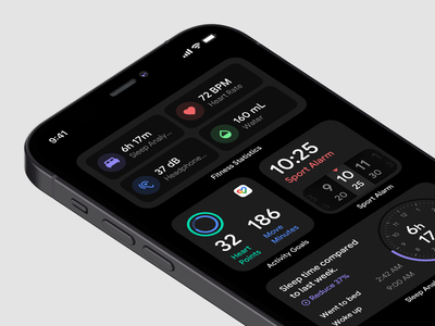 Activity Widgets tracker activity tracker healthy care health app alarm app alarm health activity feed widgets activity dark layout platform ui application app sketch concept design