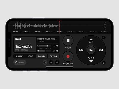 Voice Recorder voice over ahang sony voicerecorder voice assistant records record recorder voice search voice dark ui dark layout platform ui application app sketch concept design
