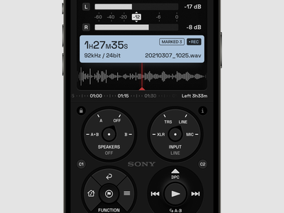 Voice Recorder 2 records record recorder ahang sony dashboard ui panel design panels panel dashboard voice dark layout ui application app sketch concept design