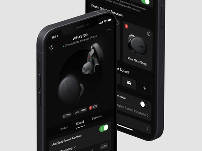 Earbuds Controller panels panel controller control dashboard ear 7ahang headphones headphone earbuds dark ui dark layout platform ui application app concept sketch design