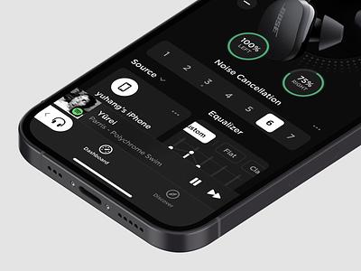 Earbuds Controller 2 dashboard panel headphones headphone bose ears ear earphones earphone earbuds dark ui dark layout platform ui application app concept sketch design
