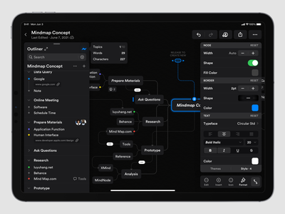 Mindmap Concept Application (Dark) graphic design patch text ux ipados ipad dark editor edit mindmap platform ui application app concept sketch design