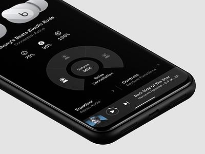 Earbuds Controller 3 level battery controller control audio headphone earbud earphone earbuds beats platform ui application app concept sketch design