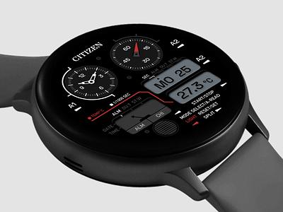 Citizen Watch Face 3 product timer time samsung clock application app graphic design logo branding ui citizen watchos watch concept sketch design