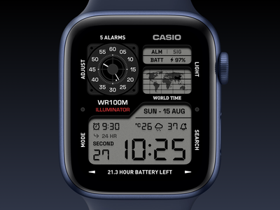 Casio Watch Face os watchos applewatch apple digital alarm clock casio watchface watch ui application app concept sketch design
