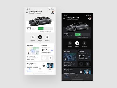 Tesla Concept dark light panel controller control dashboard vehicle car tesla platform ui application app concept sketch design