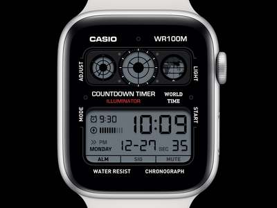 Casio Watch Face 2 os applewatch apple digital casio watchface watchos watch alarm clock ui application app concept sketch design