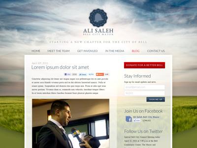 Mayor Ali Saleh Website - Header & Body web site redesign blue green field red blue shiny form button web site redesign redesign web site website