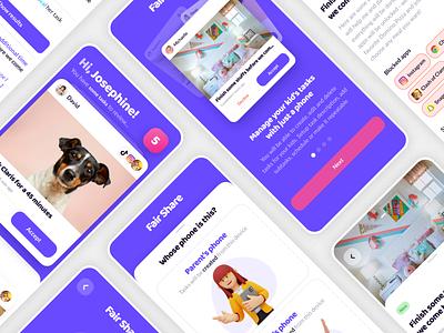 FairShare. Blocking kid's apps until tasks will be done children kids mobile app pairing swipes tasks task manager block home family mobile cards ios app ux design ui