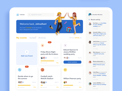 IcedCube Dashboard. Web app for the event planning event social app friends search filters wedding birthday party birthday notifications cards events web app ux design ui
