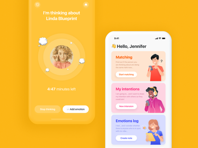 Inner. iOS mobile app for coincidences and mood sharing filter card logo dating matching coincedence emotion mobile ios app ux design ui