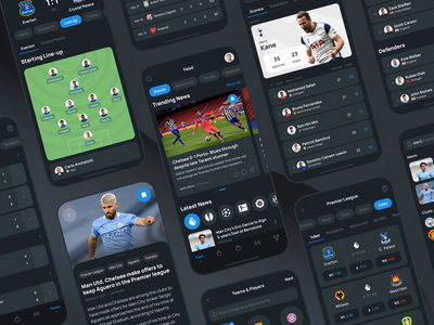 Scorer. Multi-sport mobile app onboarding match news score feed football statistic sport soccer mobile cards ios app ux design ui